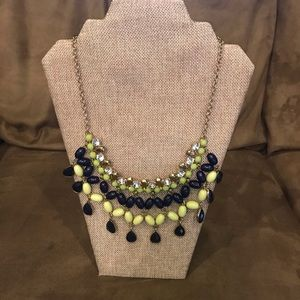 Blue and lime green bib necklace